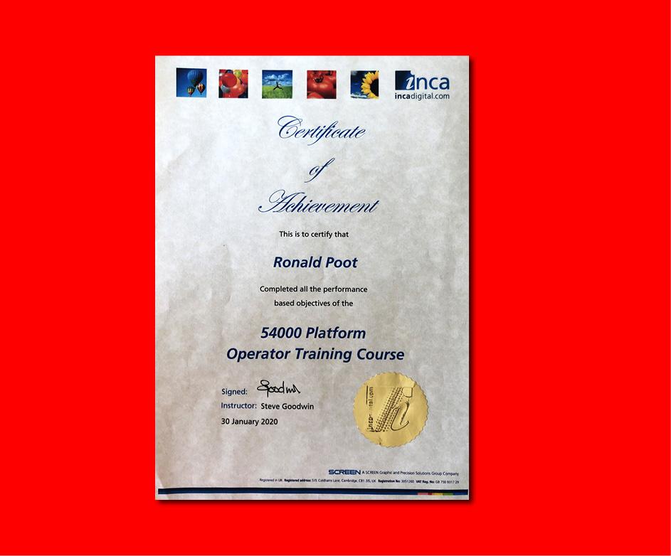 Certificaat Inca 54000 operator